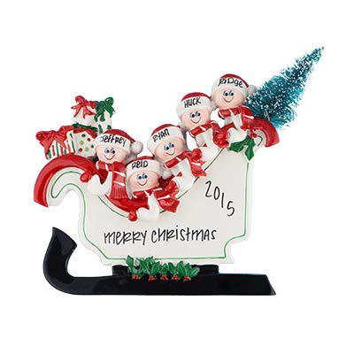 Sleigh Table Top Family of 5 Personalized Ornament - (Unique Christmas Tree Ornament - Classic Decor for A Holiday Party - Custom Decorations for Family Kids Baby Military Sports Or Pets)