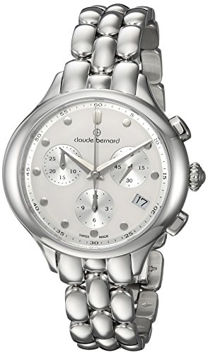5c93d9c8df23 Claude Bernard Women s  Code Chronograph  Swiss Quartz Stainless Steel and  Leather Dress Watch