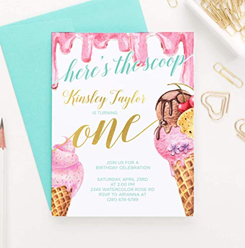 Ice Cream Birthday Invitations for Girls, Ice Cream Invitations Birthday, Your choice of Quantity, Age, Info and Envelope Color
