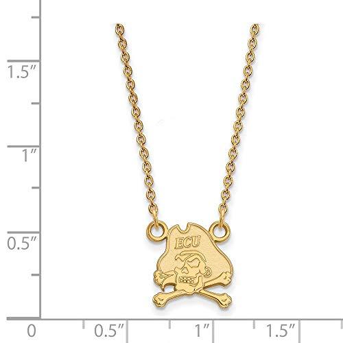 - 10k Yellow Gold East Carolina University Pirates Mascot Pendant Necklace S - (12 mm x 11 mm)