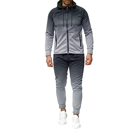 OMINA Mens Tie-Dyeing Tracksuit Set, Autumn Winter Casual Slim Fit Sweatshirts Hoodie Cardigan Sweatpants Suit 2 Pcs Gray