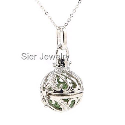 Sier Feather Aromatherapy Perfume Essential Oil Diffuser Necklace Locket With Lava Stone (Green) (Sier Oil)