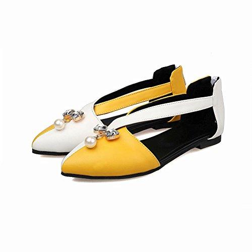 Carolbar Damessandalen Assorti Kleuren Zip Bows-shaped Rhinestones Bead Jurk Flats Schoenen Geel + Wit