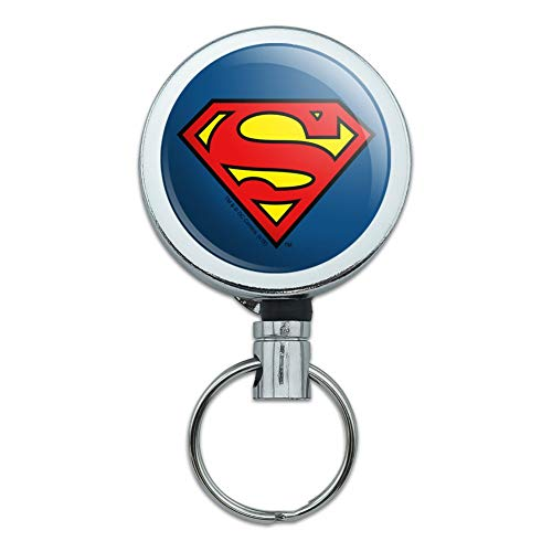 Superman Classic S Shield Logo Heavy Duty Metal Retractable Reel ID Badge Key Card Tag Holder with Belt Clip (Superman Classic)