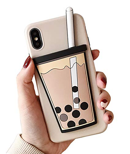 UnnFiko 3D Cartoon Case Compatible with iPhone Xs Max, Super Cute Milk Soft Silicone Rubber Bumper Cover Cool Fun Protective Case (Bubble Tea, iPhone Xs Max)
