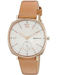 Skagen SKW2418 Reloj para Mujer Rectangular, Análogo, color Blanco y Marrón