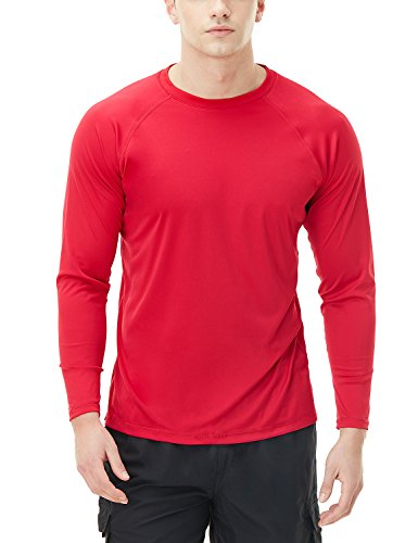 TSLA Men's UPF 50+Swim Shirt Swim Long Sleeve Tee Rashguard Top, Basic Sun Block(mss03) - Red, Medium ()