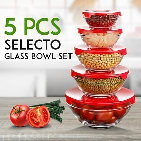 King International 5 PCS Glass Storage Bowl Set - Easy Click Color Lid