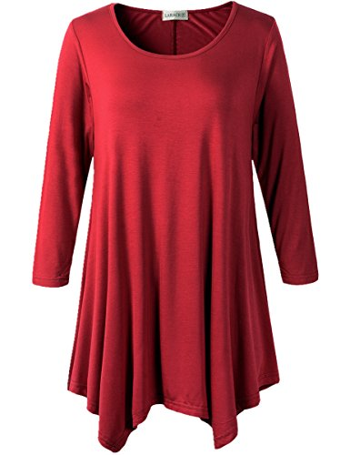 Lanmo Women Plus Size 3/4 Sleeve Tunic Tops Loose Basic Shirt (1X, Wine Red) ()