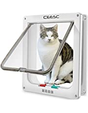 """CEESC Extra Large Cat Door (Outer Size 11"""" x 9.8""""), 4 Way Locking Large Cat Door for Interior Exterior Doors, Weatherproof Pet Door for Cats & Doggie with Circumference < 24.8"""" (White)"""