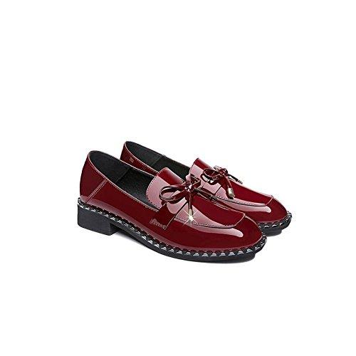 Rojo de Conjunto de la otoño Las de Femenino Color Zapatos 39 Cabeza Pie Redonda Rhinestone 2018 Primavera Solos Mujeres y tamaño 8PYwnUS