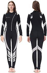Seaskin Wetsuit Men Women 3mm Neoprene Full Body Diving Suits Front Zip Long Sleeve Wetsuit for Scuba Diving S