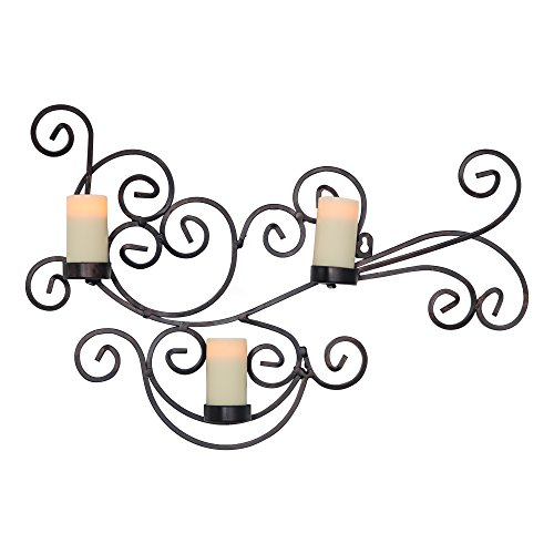 - Candle Impressions Modern Bronze Scroll Candle Holder with 3 Real Wax Flameless Candles