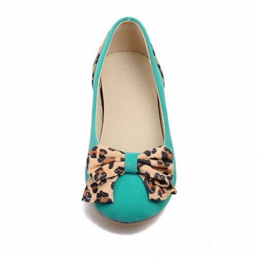 Carolbar Womens Fashion Leopardmönster Bågar Tillfälliga Blandade Färger Gömda Häl Dagdrivaren Lägenheter Blågröna