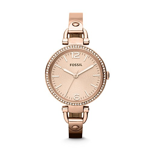 Fossil Women's Georgia Quartz Stainless Steel Dress Watch, Color: Rose Gold (Model: ES3226) ()