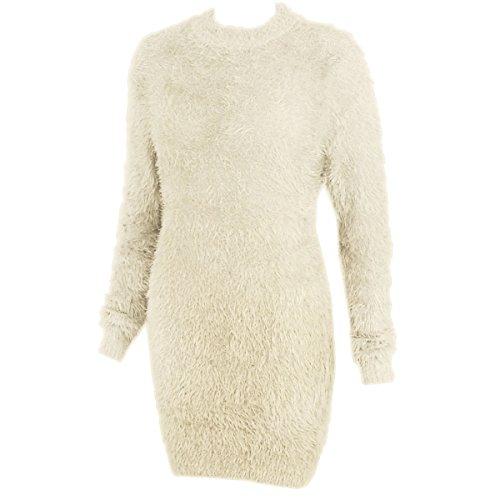 Furry Skirt (Fashion Thirsty Womens Long Furry Jumper Dress Soft Stretchy Top 12 - 16 Cream)