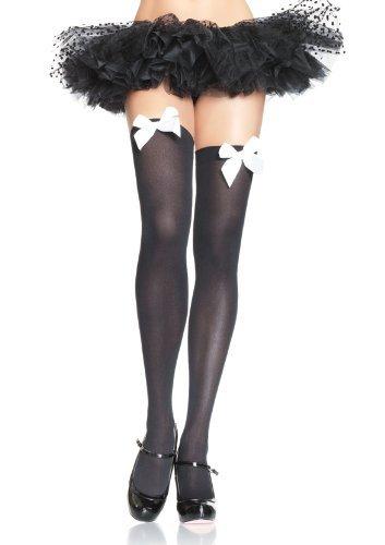 marcas en línea venta barata Leg Leg Leg Avenue Nylon Thigh Highs with Bow (negro  blanco) by Leg Avenue  salida de fábrica