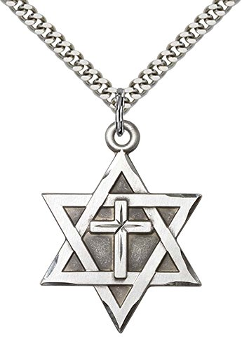 F A Dumont Sterling Silver Star of David W/Cross Pendant with 24