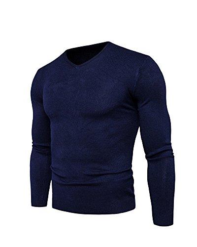 vêtement Chandails Penggeng Chaud Thermique Serré Garde Longues Sous Tricot Foncé Bleu Au Pulls Chandail Manches Hommes wwExaH
