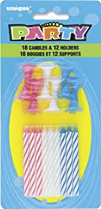 Striped Birthday Candles with Holders, 30pc