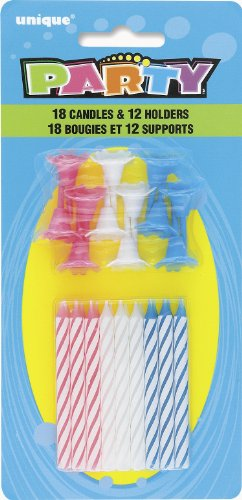 Striped Birthday Candles with Holders, 30pc (Cake Pink Striped Candles)