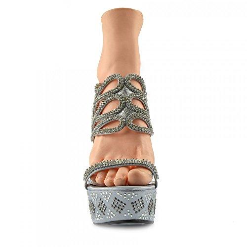 Piattaforma Alti Scarpe Della Tacchi Pole Ab3909 Chiaro Footwear Donna Dancing Kick Perspex Charmaine Argento WPUYq88w