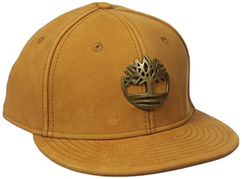 Timberland Men's Nubuck Leather Flat Brim Cap With Metal Charm, Wheat, One - Hats Ti