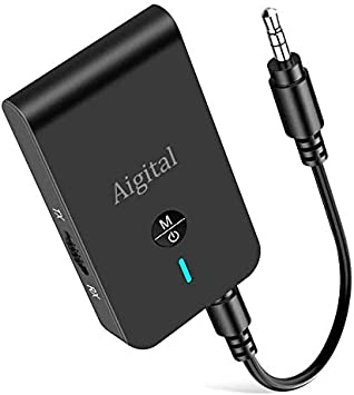 Aigital Transmisor Receptor Bluetooth 5.0, Adaptador 2 en 1,Soporte aptX Baja latencia en Modo TX, Adaptador RX, Jack Jack 3,5mm para TV PC MP3/MP4 Tablet Altavoz Estéreo