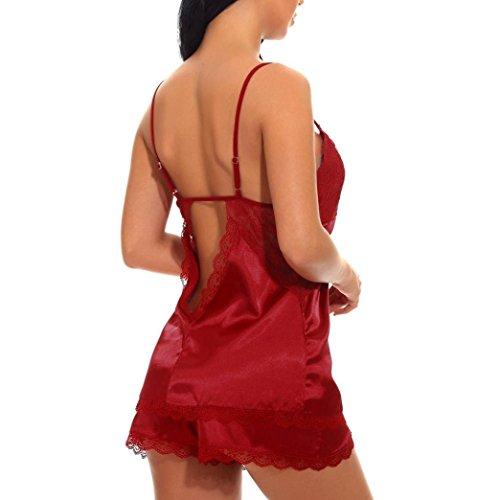 Moda Rojo Interior con Vino Cuello Mujeres Sexy Ropa Corbata CamisóN Encaje Dream CamisóN CamisóN LenceríA para Cuello Colgando V En Keepwin De wqn1CHxgx
