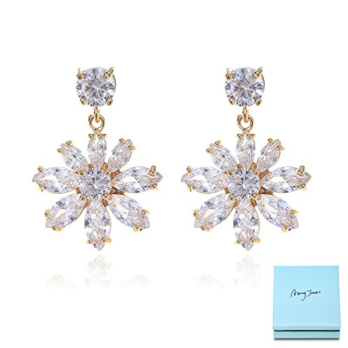 Marquise Flower Earrings for Wedding - 14k Gold Plated Sterling Silver CZ Crystal Rhinestone Floral Cluster Earrings for Bride Bridesmaids Prom Party Costume Jewelry for Women ()