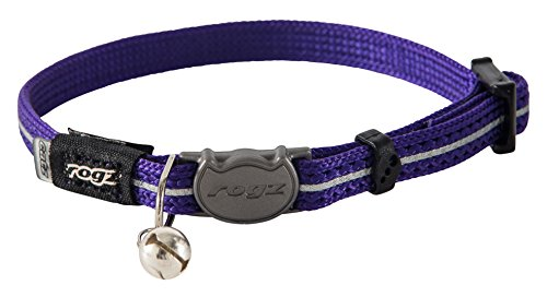 "Rogz Catz AlleyCat Extra Small 5/16"" Breakaway Reflective Kitten Collar, Purple Reflective"