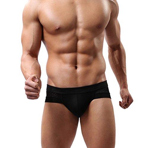 HP95(TM)Men's Bikini Underwear,Trunks Style Men's Briefs Soft Underpants (L, Black)