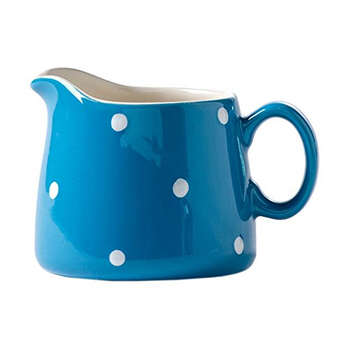 Porcelain Polka Dot Milk Jug Coffee Creamer Mug Pitcher Colorful Ceramic Cute Spout Serving Sauce Pitcher Milk Pourer Syrup Server with Handle for Kitchen,kid Home Decor Gift(Yellow,Pink,Blue)