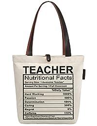 So'each Women's Awesome Teacher Gift Top Handle Canvas Tote Shoulder Shopper Bag
