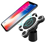 Magnetic Wireless Qi Charger and Car Mount Device for Apple iPhone X 8 8 Plus 8+ Galaxy S9 S9 Plus S9+ Sticky or Air Vent compatible