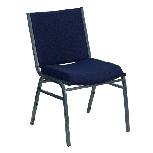 Flash Furniture HERCULES Series Heavy Duty Navy Blue Dot Fabric Stack Chair