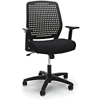 Essentials Plastic Back Ergonomic Task Chair - Office Chair with Arms, Black/Black (ESS-2055-BLK-BLK)