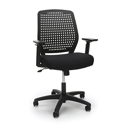 Essentials Plastic Back Ergonomic Task Chair - Office Chair with Arms, Black/Black (ESS-2055-BLK-BLK) by OFM