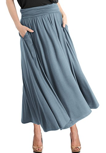 (TRENDY UNITED Women's High Waist Fold Over Pocket Shirring Skirt ,Dusty Blue-ankle,X-Large)