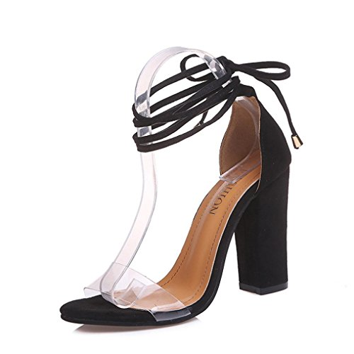 Muium Women Fashion Sandals, Ladies Fish Mouth High Heeled Sandals Cross Strap Open Toe Party Shoes Black