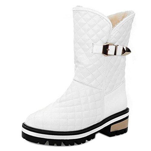 Neige A Bottines Courte RAZAMAZA Femmes White Hiver Enfiler De Doux Bottes wq8pqIP