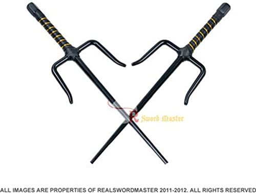"9879000420 Swordmaster - Set of 2 19"" Black Octagon Stainless Sai Karate Practice Martial Arts Sais 410Mr6u8cgL"