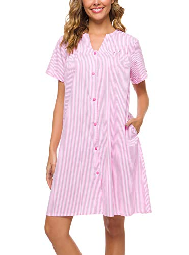 YOZLY House Dress Womens Stripe Sleepwear Short Sleeve Loungewear Button Down House Duster Gowns (Pink, S)