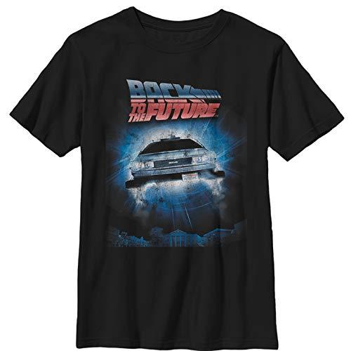 Fifth Sun Back to The Future Boys' Retro Delorean Poster Black T-Shirt