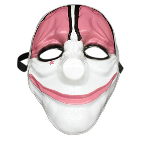 Plastic Cosplay Costume Mask Fun Horrible Scary Fools Clown Full Face Mask for Halloween Party Outdoor Game (Red Head)