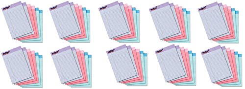 TOPS Prism Plus 100% Recycled Legal Pad UKcwlI, 5 x 8 Inches, Perforated, Assorted Colors: Pink, Orchid, Blue, Narrow Rule, 50 Sheets per Pad WriBuX, 60 Pads (63016) by Tops