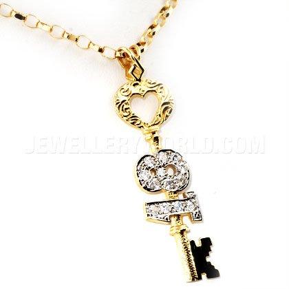 CZ &or 9 carats avec pendentif en forme de clé 18ème anniversaire