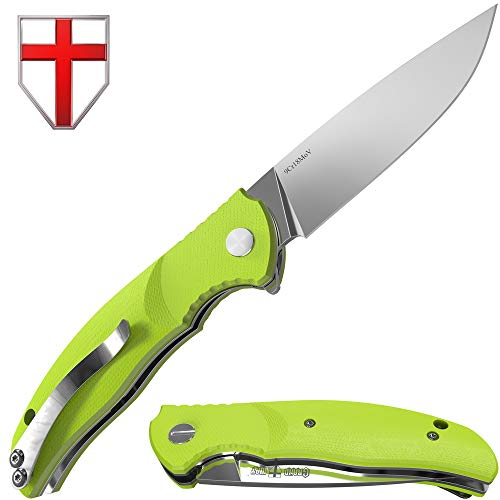 Pocket Folding Knife for Man with Metal Clip for EDC - Best Flip Foldable Camping Outdoor Knives with Green G-10 Handle Grand Way S-24