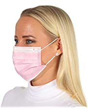 50 stuks wegwerp-gezichtsmaskers, mond-neusbedekking, 3-laagse mondbescherming, roze/zwart/blauw
