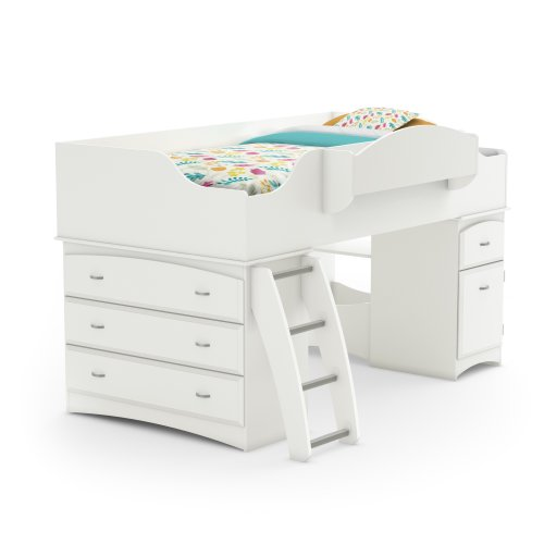 Imagine Collection Twin Loft Bed with Storage - Pure White by South Shore